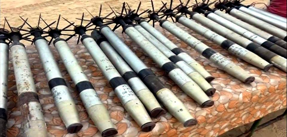 Grad rockets found by the Egyptian army during security activity.