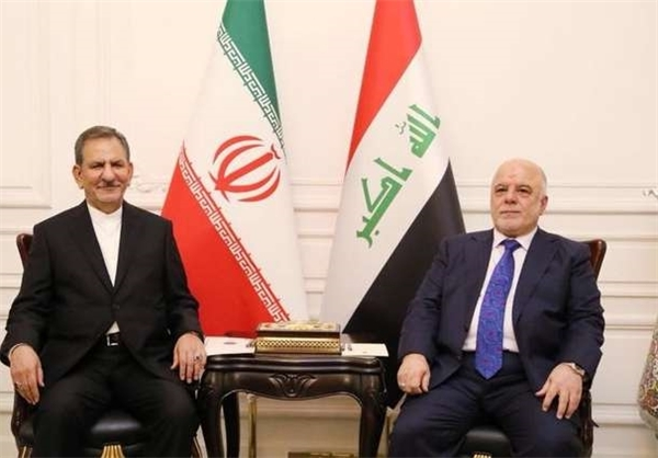 The meeting between Vice President Jahangiri and Iraqi Prime Minister al-Abadi (Fars, March 7 2018).