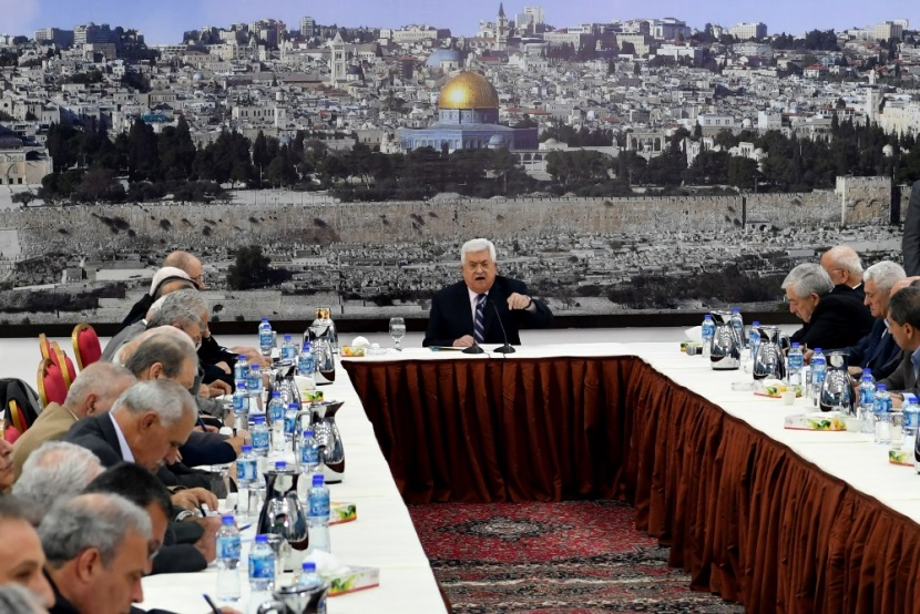 Mahmoud Abbas speaking at the meeting of the PLO's Executive Committee in Ramallah (Wafa, March 19, 2018).