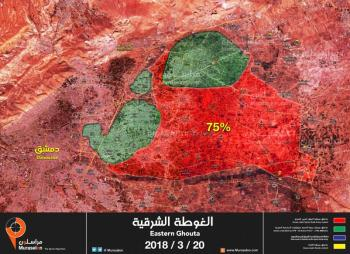 Deployment of the forces in eastern Al-Ghouta (updated to March 20, 2018): The Syrian army and its supporting forces are marked in red; Territories recently taken over by them are marekd in blue; The rebel enclaves are marked in green (Mourassiloun, March 20, 2018)