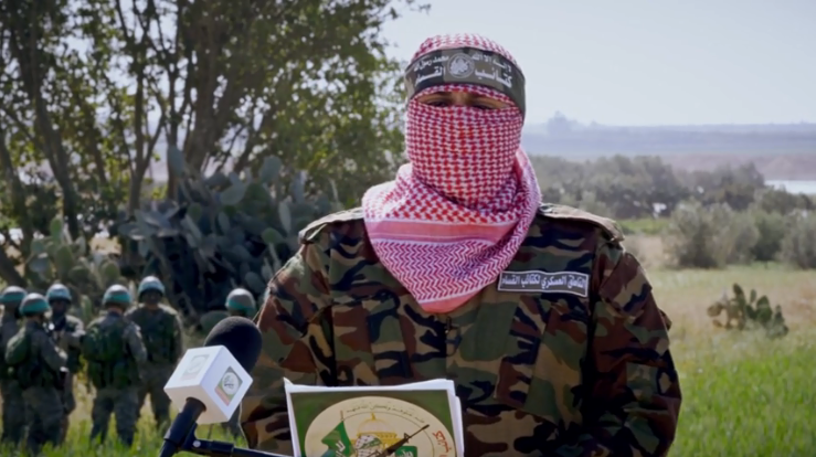 Abu Obeida, spokesman for the military wing of Hamas, delivering a speech summing up Hamas's military maneuver in the Gaza Strip (Izz al-Din al-Qassam Brigades website, March 26, 2018)