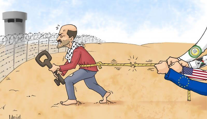 Hamas cartoon of the Palestinians' determination to realize the so-called