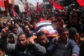 The funeral held for Abd al-Qadr al-Hawajri, a Democratic Front for the Liberation of Palestine operative, in the Nuseirat refugee camp in the central Gaza Strip (Dunia al-Watan, March 31, 2018).