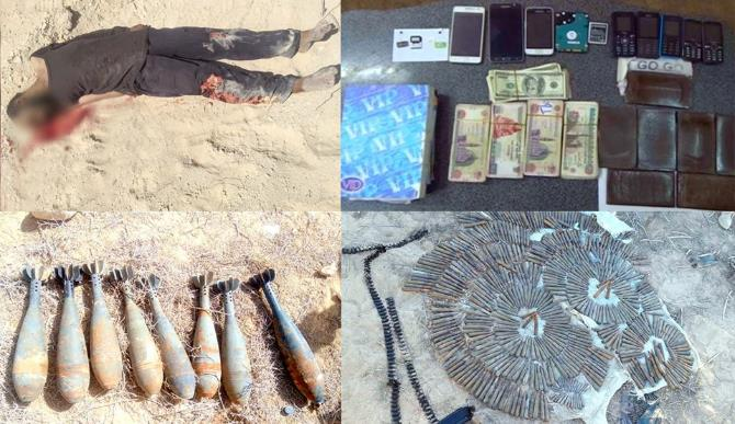 "Top right, clockwise: Cash, cellphones, and marijuana found in the possession of an ISIS operative who was killed in northern Sinai, light arms ammunition, eight mortar shells, and the body of a ""terrorist operative"" (Spokesman for the Egyptian Armed Forces, April 8, 2018)"