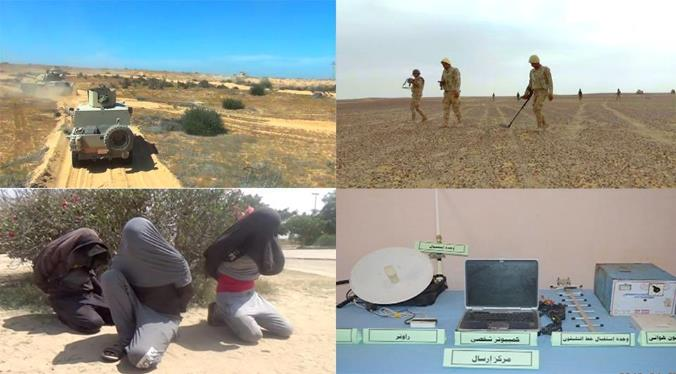"Top right, clockwise: Egyptian army combat engineering personnel during searches for mines and IEDs; a broadcasting station of ""terrorist operatives""; three detainees; Egyptian army armored vehicles during a security activity (Spokesman for the Egyptian Armed Forces, April 8, 2018)"