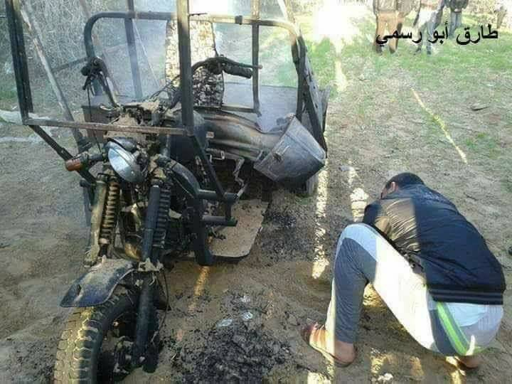 The three-wheeled motor bike that exploded (Facebook page of, Rafah al-'An, April 14, 2018).