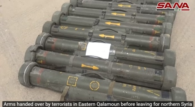 Anti-tank missiles and launching pads handed over to the Syrian army (SANA, April 22, 2018)