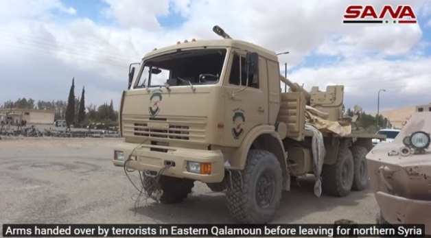 Gun carried on a truck, handed over to the Syrian army (SANA, April 22, 2018)