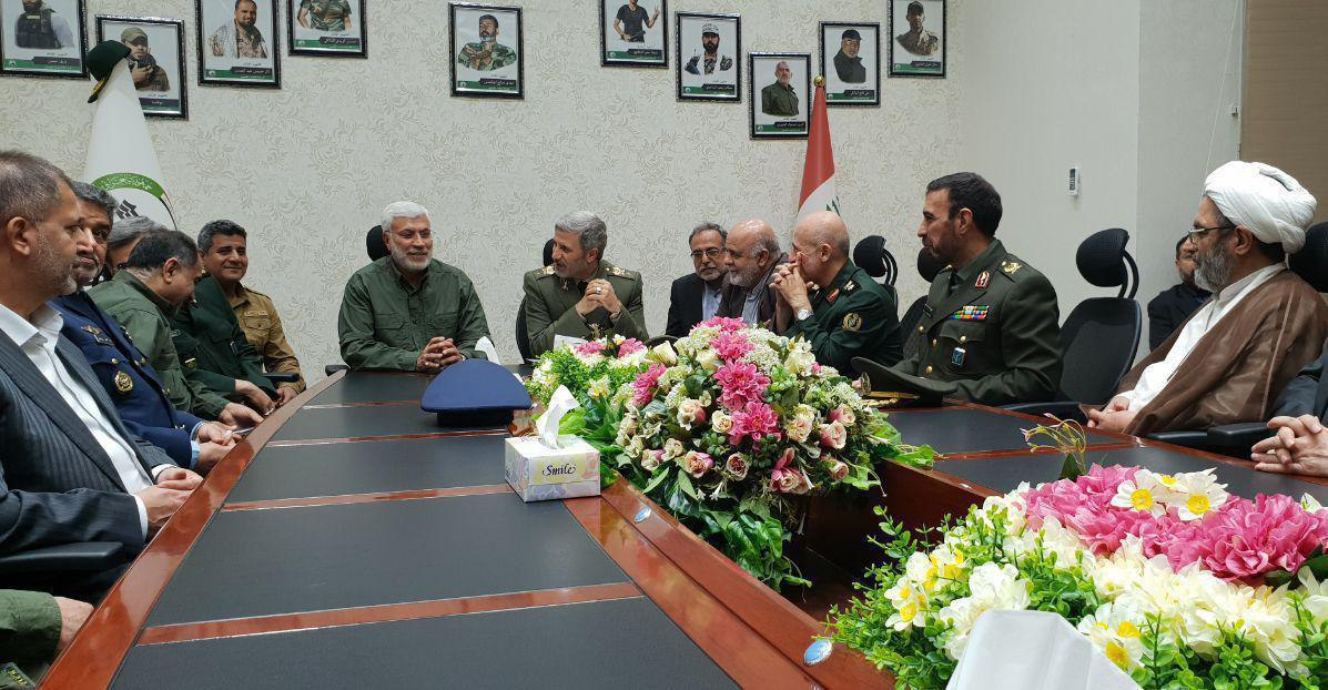 "The Iranian minister of defense at the headquarters of the ""Popular Mobilization Units"" alongside Abu Mahdi al Muhandis"