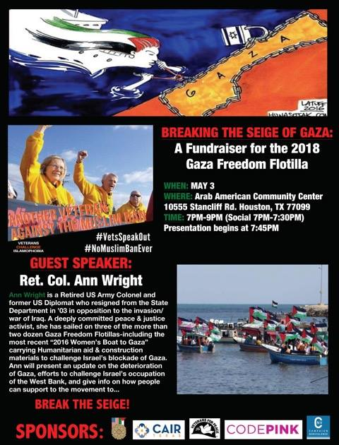 Invitation to a fundraising event for the flotilla. The event will take place in Houston, Texas, where Ann Wright will speak (Ann Wright's Facebook page, April 23, 2018)