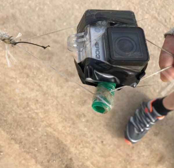 GoPro camera attached to a kite which was flown from the Gaza Strip and fell this weekend in Israeli territory near the Gaza Strip (PALINFO Twitter account, May 5, 2018)