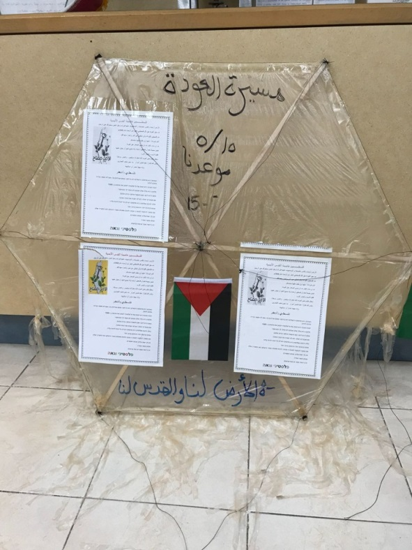 "Model of the kite that reached the ITIC. Top: ""The Return March, May 15 [i.e., Nakba Day] is our date."" Bottom: ""The land [of Israel] is ours and Jerusalem is ours."""