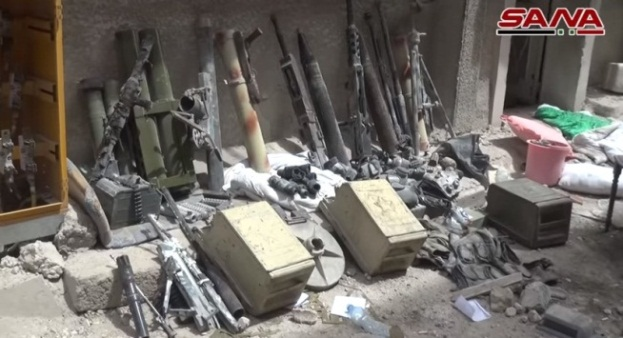 ISIS weapons seized in the Al-Hajar al-Aswad neighborhood.