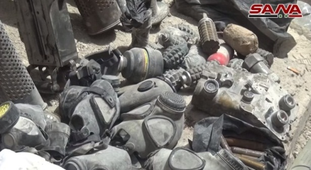 ISIS hand grenades and gas masks (SANA, May 4, 2018)