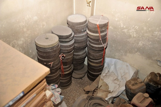 Mines seized by the Syrian army in the Al-Hajar al-Aswad neighborhood.