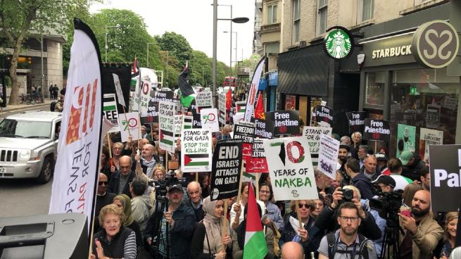 Palestinians demonstrate in front of the Israeli embassy in London to mark the 70th anniversary of the nakba (Facebook page of QudsN, May 11, 2018; Al-Arabi al-Jadeed, May 12, 2018)