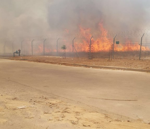 Fire in Mefalsim, one of the communities near the Gaza Strip, caused by an incendiary kite flown from inside the Strip (Safa Twitter account, May 14, 2018)