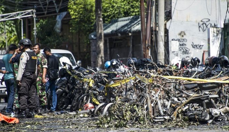 The scene of one of the three ISIS terrorist attacks in Surabaya, Indonesia.