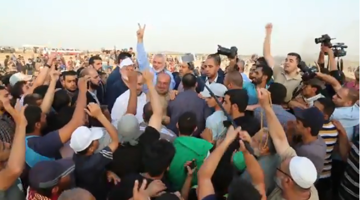 "Isma'il Haniyeh attends the ""great return march"" in the eastern Gaza Strip (YouTube, May 18, 2018)."