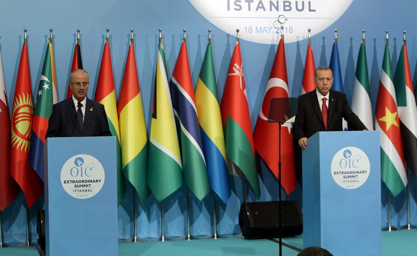 PA Prime Minister Rami Hamdallah and Turkish Prime Minister Erdogan hold a joint press conference at an