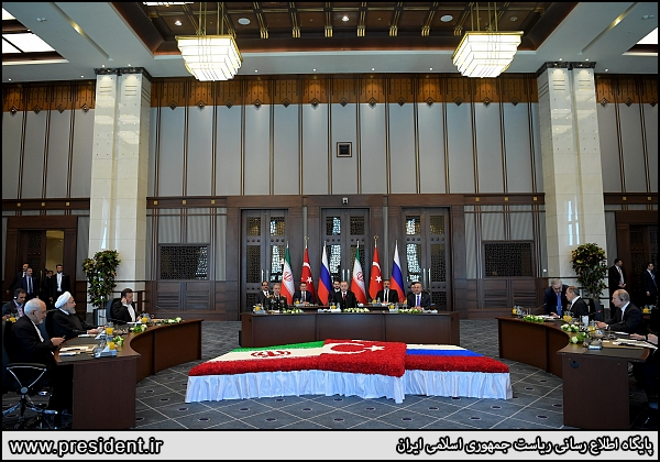The summit of the Iranian, Russian and Turkish presidents in Moscow (the website of the Iranian president, April 4, 2018)
