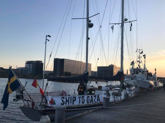The boats before leaving from Copenhagen (Zaher Birawi's Facebook page, May 22, 2018)