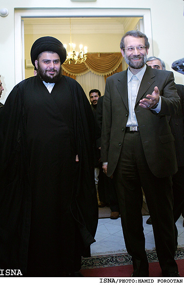 A photo from 2006 of Muqtada al-Sadr and Ali Larijani (the Speaker of the Majlis and at the time, the Secretary of the Iranian Supreme National Security Council) (ISNA, January 22, 2006)