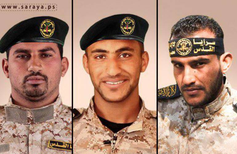 The three PIJ operatives who were killed (left to right): Abd al-Halim al-Naqa, Hussein Samir al-Amour and Nassim Marwan al-Amour (website of the Jerusalem Battalions, May 27, 2018).
