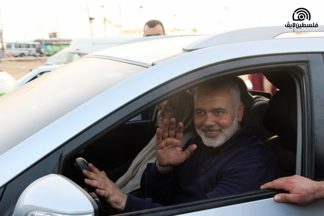 Isma'il Haniyeh arrives for a visit at the
