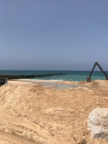 Construction on the naval barrier (Shehab Facebook page, May 27, 2018).
