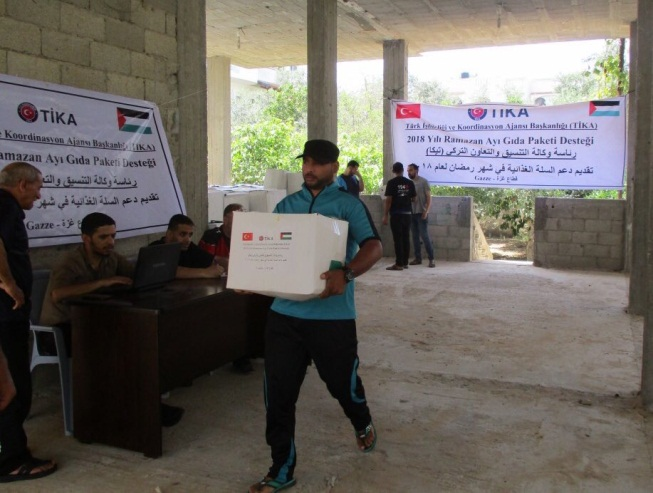 Packages of food distributed by TIKA in the Gaza Strip (Twitter account of Tike Palestine and Palinfo, 27, 2018).