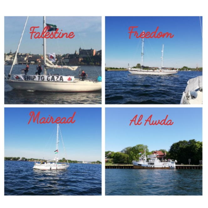 The four ships of the flotilla (Facebook page of Ship to Gaza-Sweden, May 25, 2018).