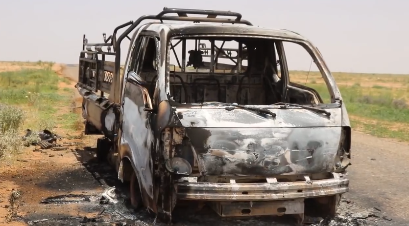 Vehicle formerly used by ISIS, destroyed by the Syrian army in the rural area of Al-Mayadeen (SANA, May 23, 2018)