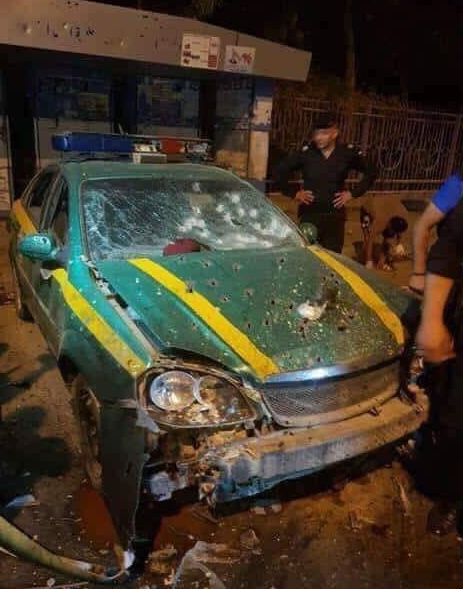 Security vehicle at the scene of the suicide bombing attack in the Al-Shu'lah area of Baghdad.