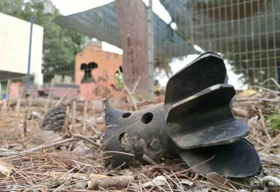 The remains of a mortar shell launched into Israeli territory from the Gaza Strip (Shehab Facebook page, May 29, 2018).
