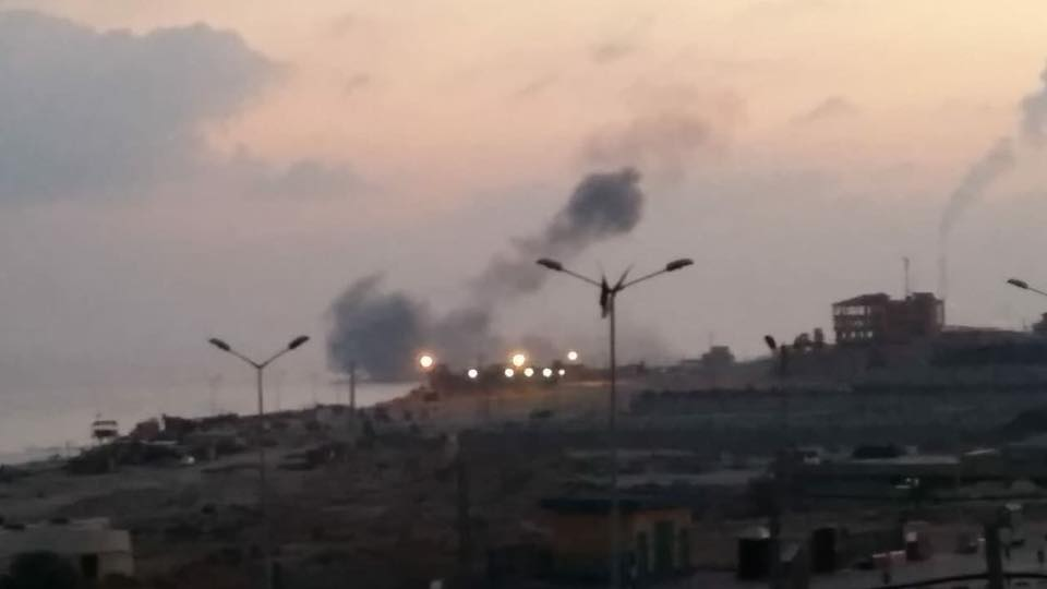 Israeli Air Force attack on western Beit Lahia (Shehab Facebook page, June 3, 2018).