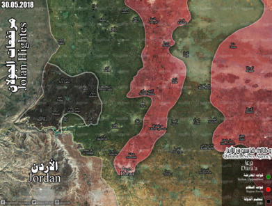 Deployment of the forces in the Daraa area and the Yarmouk Basin: Rebel organizations (green), Syrian army and supporting forces (red), ISIS (black) (Qasiyoun, June 2, 2018)