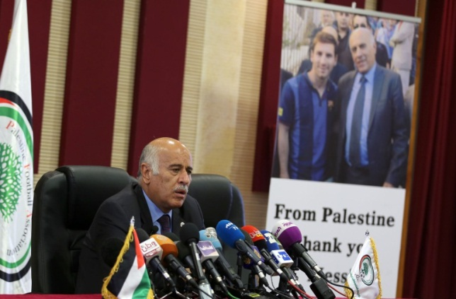 Jibril Rajoub holds a press conference after the Israel-Argentina friendship match is cancelled (Wafa, June 6, 2018).