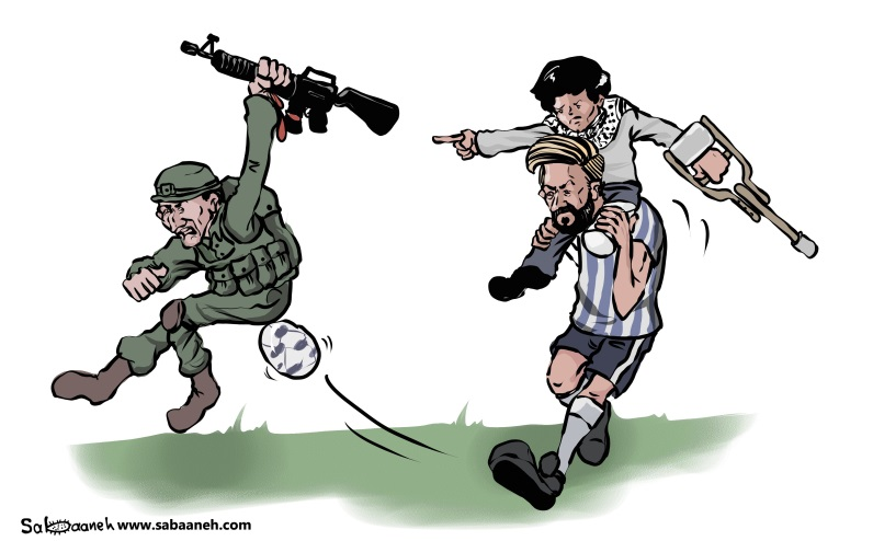 "Cartoon appearing in the daily al-Hayat al-Jadeeda represents the Palestinian ""achievement"" after the cancellation of the Israel-Argentina friendship match (al-Hayat al-Jadeeda, June 10, 2018)."
