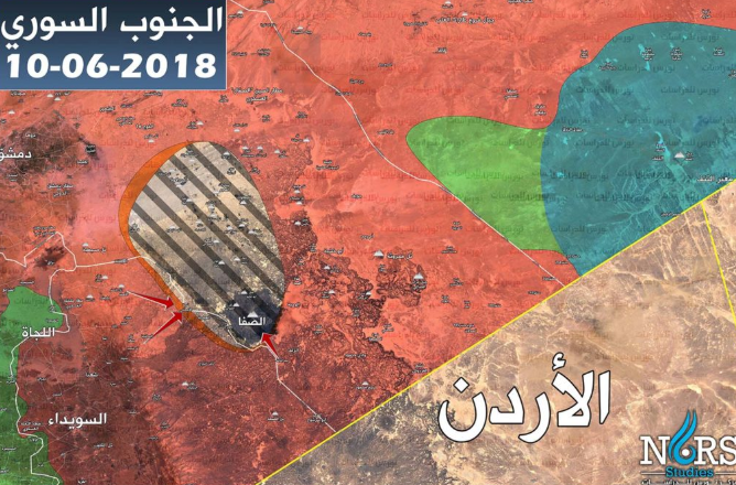Deployment of the forces northeast of As-Suwayda (updated to June 10, 2018): The Syrian army and the forces supporting it (red); ISIS (brown-black); Rebel forces (green); International Coalition forces (blue); Areas of clashes between ISIS and the Syrian army and supporting forces (orange stripe around the ISIS enclave) (Syrian NORS Institute for Strategic Studies, June 10, 2018)
