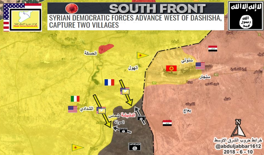 Deployment of the forces south of Al-Hasakah (updated to June 10, 2018): Iraqi army and US and Kurdish forces in Iraqi territory (red); ISIS (grey); SDF forces and US, French and Italian forces supporting them (yellow); routes of SDF forces' attack (yellow arrows); ISIS's counter-attack routes (black arrows) (Twitter, June 10, 2018)