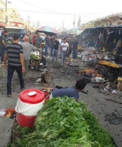 The Scene of the explosion in an open market northwest of Baqubah (Al-Sumaria News, June 9, 2018)