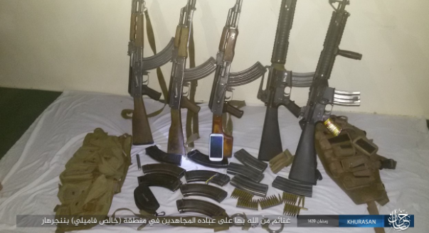 Weapons seized by ISIS operatives in an attack that they carried out in the city of Jalalabad (Haqq, June 10, 2018)