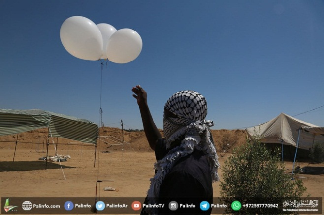 -Palestinians launch Incendiary balloons (Palinfo, June 14, 2018).
