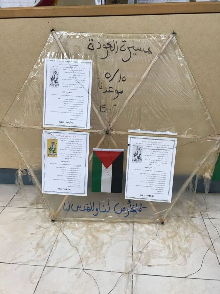 "Model of a kite in the Intelligence and Terrorism Information Center.  The upper inscription reads, ""[Nakba Day] is our date."" The lower inscription  reads, ""The land [is] ours and Jerusalem [is] ours."""