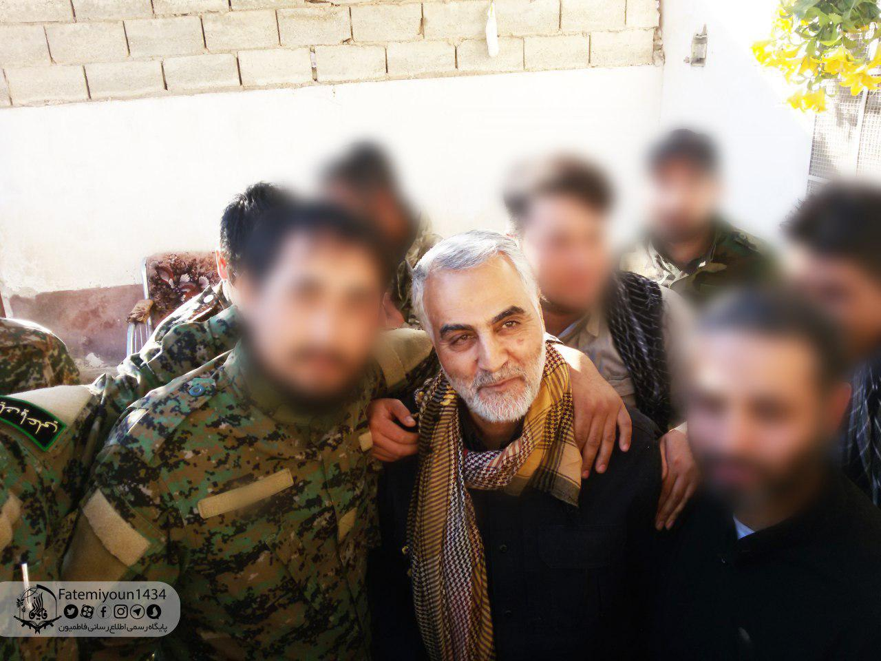 Soleimani alongside Fatemiyoun Brigade fighters (Telegram, June 10, 2018)