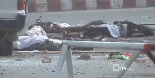 A number of bodies lying on the road at the scene of the attack (1TVNewsAF@1TVNewsAF Twitter account, June 17, 2018)