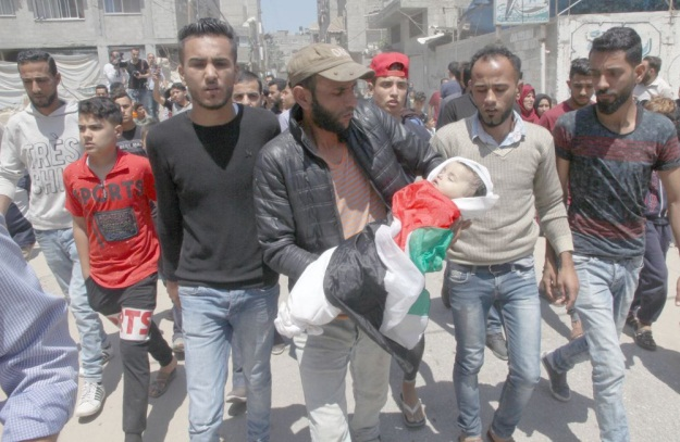 The funeral held for Layla Ghandour (Filastin al-A'an, May 16, 2018).