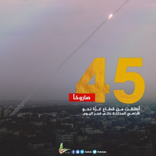 "Hamas notice posted after 45 rockets were fired at Israeli territory. The Arabic reads, ""45 rockets were launched from the Gaza Strip at the occupied territories until this morning"" (Palinfo Twitter account, June 20, 2018)."