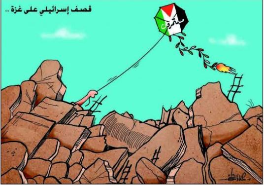 """Hamas cartoon shows Palestinians continuing to fly kites into Israel despite the IDF's attacks and the destruction they cause. The Arabic reads, """"Israeli attacks on Gaza...continue (Felesteen, June 22, 2018)."""